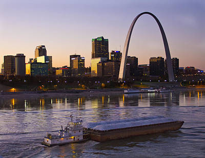 St Louis Photograph - Towboat And Barge At St Louis by Garry McMichael
