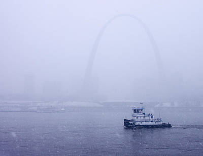 Jefferson National Expansion Memorial Photograph - Towboat Working In The Snow St Louis by Garry McMichael