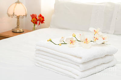 Towels On Bed Art Print