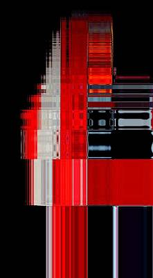 Digitalized Photograph - Tower 1 Black White Red by Cj Carroll