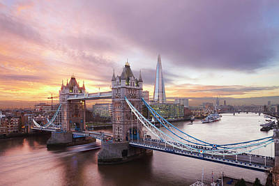 Photograph - Tower Bridge And The Shard At Sunset by Laurie Noble