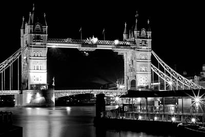 Art Print featuring the photograph Tower Bridge At Night by Maj Seda