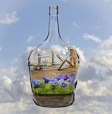 Message Art Photograph - Tower Bridge Bottled by Donald Davis