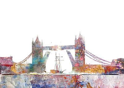 Tower Of London Digital Art - Tower Bridge Colorsplash by Aimee Stewart