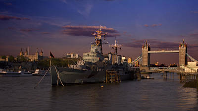 Photograph - Tower  Bridge Hms Belfast Tower Of London by David French
