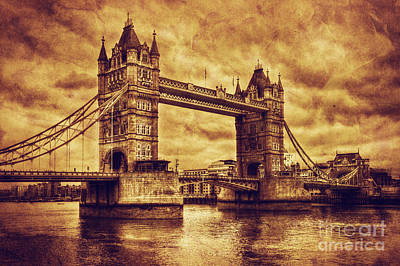 Icon Photograph - Tower Bridge In London Uk Vintage Style by Michal Bednarek