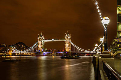 London Skyline Royalty-Free and Rights-Managed Images - Tower Bridge London at night by Izzy Standbridge