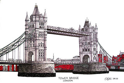 Drawing - Tower Bridge - London by Frederic Kohli
