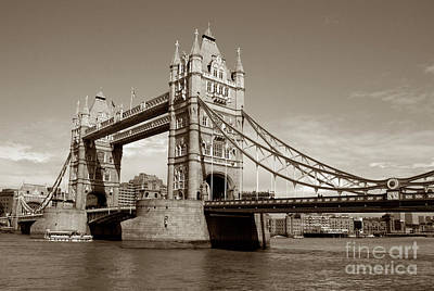 Kate Middleton Photograph - Tower Bridge - Sepia by Heidi Hermes