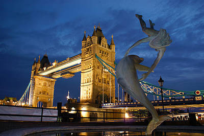 Photograph - Tower Bridge The Dolphin And The Girl by Andy Beattie Photography