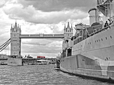 Tower Bridge Photograph - Tower Bridge With Hms Belfast by Gill Billington