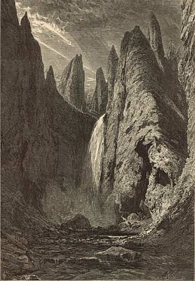 The Grand Canyon Of The Yellowstone Painting - Tower Falls At Yellowstone Valley by Antique Engravings
