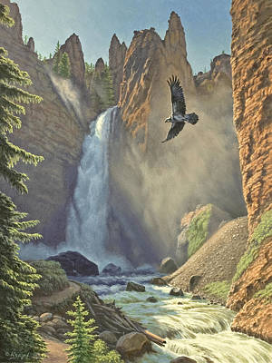 Osprey Painting - Tower Falls  by Paul Krapf