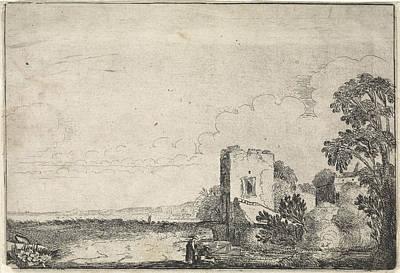 Angling Drawing - Tower In A Landscape, Jan Van De Velde II by Jan Van De Velde (ii)