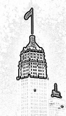 Digital Art - Tower Life Building San Antonio Texas Night Skyline Black And White Digital Art by Shawn O'Brien