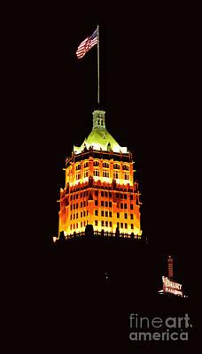Digital Art - Tower Life Building San Antonio Texas Night Skyline Cutout Digital Art by Shawn O'Brien