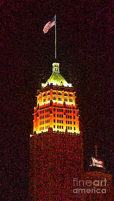 Digital Art - Tower Life Building San Antonio Texas Night Skyline Fresco Digital Art by Shawn O'Brien