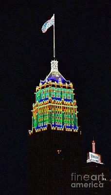 Digital Art - Tower Life Building San Antonio Texas Night Skyline Glowing Edges Digital Art by Shawn O'Brien