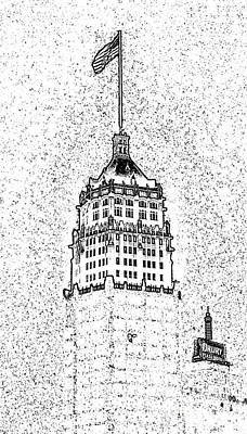 Digital Art - Tower Life Building San Antonio Texas Night Skyline Stamp Digital Art by Shawn O'Brien