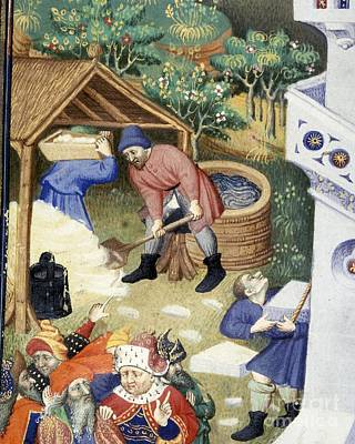 Stone Masons Photograph - Tower Of Babel Builders, Bedford Hours by British Library