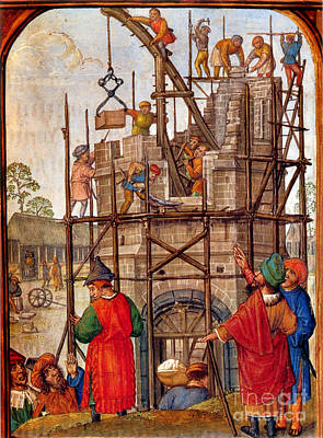 Tower Of Babel, Flemish Book Of Hours Art Print by Photo Researchers