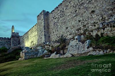 Tower Of David And Old Jerusalem City Wall At Dusk Art Print