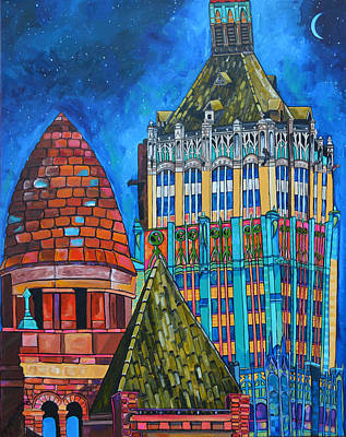 Moonlit Night Painting - Tower Of Life Building And Courthouse by Patti Schermerhorn