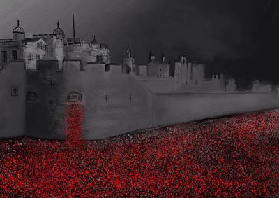 Rememberance Digital Art - Tower Of London Blood Swept The Lands by Karen Harding