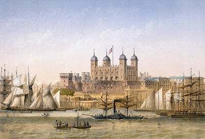 London Drawing - Tower Of London, 1862 by Achille-Louis Martinet