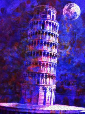 Tower Of Pisa By Moonlight Art Print