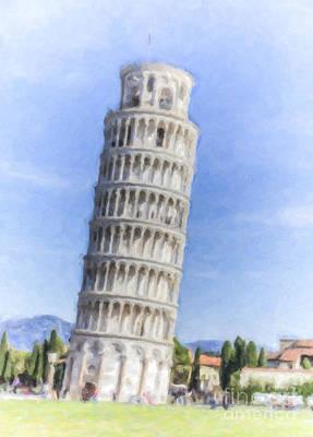 Landmark Digital Art - Tower Of Pisa by Liz Leyden