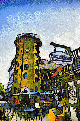 Eatery Digital Art - Tower Pizza Solvang California by Barbara Snyder