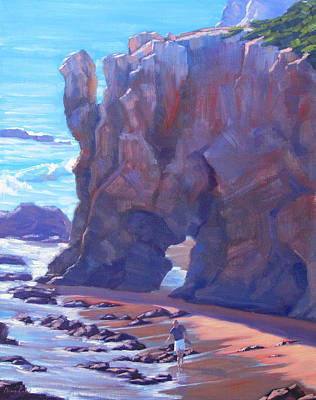 Towering El Matador Plein Air Painting Art Print by Elena Roche