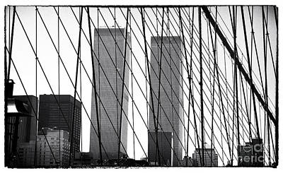 Photograph - Towers From The Brooklyn Bridge 1990s by John Rizzuto