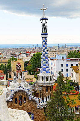 Antoni Gaudi Wall Art - Photograph - Towers Of Gaudi In Park Guell by George Oze