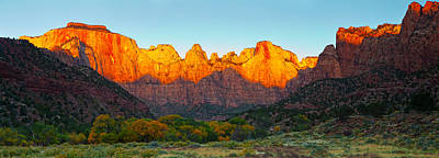 Zion National Park Photograph - Towers Of The Virgin And The West by Panoramic Images