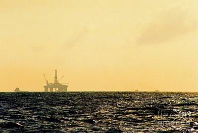 Towing A Platform In The Gulf Of Mexico Off The Coast Of Louisiana Art Print by Michael Hoard