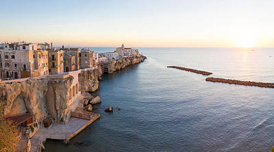 Town At The Waterfront, Vieste Art Print by Panoramic Images
