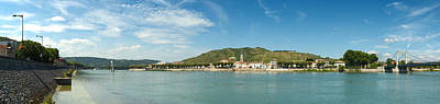 Town At The Waterfront, Vineyards Art Print by Panoramic Images