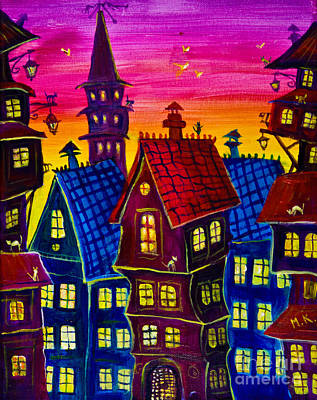 Town At Twilight Art Print