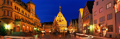 Town Center Decorated With Christmas Art Print by Panoramic Images