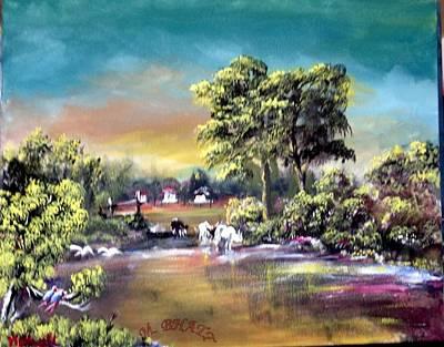 Painting - Town Corner by M bhatt