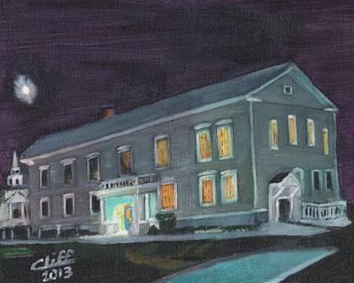 Town Hall At Night Art Print