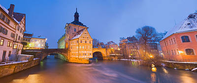 Town Hall In A City At Night, Bamberg Print by Panoramic Images