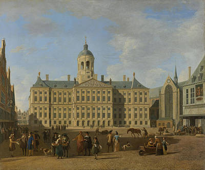 Dam Drawing - Town Hall On The Dam, Amsterdam, The Netherlands by Litz Collection