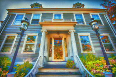 Town House Nantucket And Two Lamps 001 Art Print
