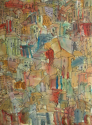 Town I Art Print by Oscar Penalber