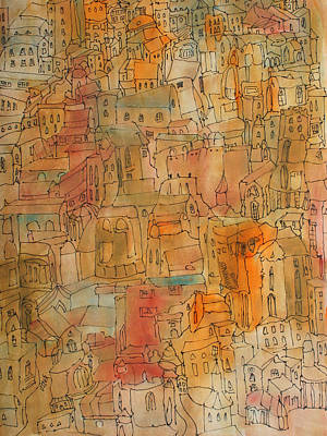 Painting - Town II by Oscar Penalber