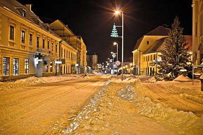 Town In Deep Snow On Christmas  Art Print by Brch Photography