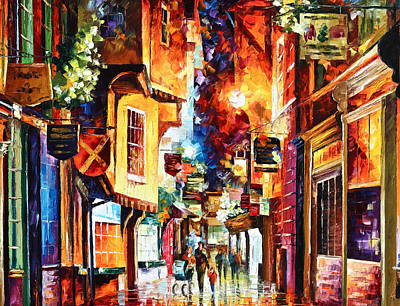 Old Street Painting - Town In England by Leonid Afremov